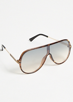 Tortoiseshell Striped Flat Top Sunglasses