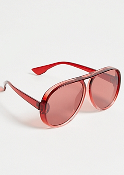 Red Flat Top Aviator Sunglasses