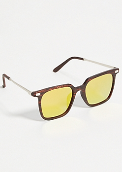 Wooden Square Orange Mirrored Sunglasses