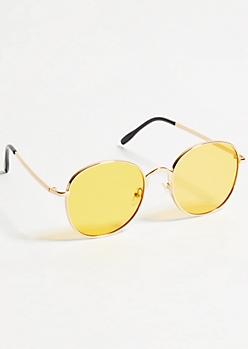 Yellow Round Metallic Frame Sunglasses