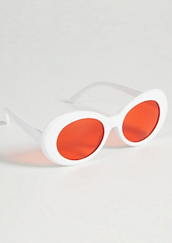 White Oval Retro Red Lens Sunglasses
