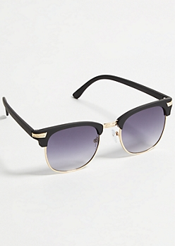 Gold Black Square Sunglasses