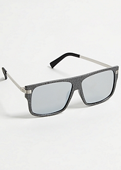 Matte Gray Texture Flat Top Sunglasses