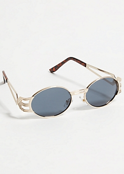 Gold Tortoise Cross Frame Round Sunglasses