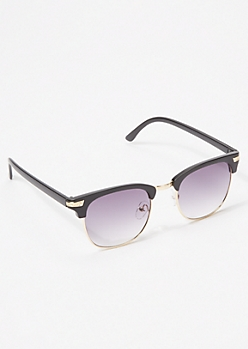 Black Matte Square Sunglasses