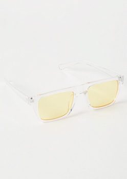 Clear Yellow Rectangle Sunglasses