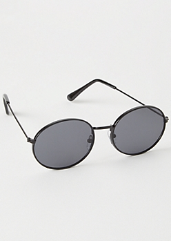 Black Oval Metal Sunglasses