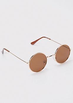 Brown Micro Round Sunglasses