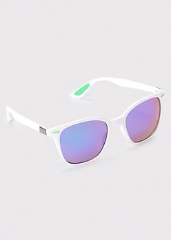 White Colorblock Sunglasses
