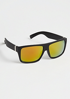 Black Flat Top Retro Orange Mirror Sunglasses