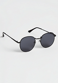Black Smokey Round Sunglasses