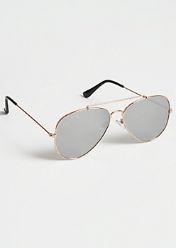 Gold Smokey Lens Aviator Sunglasses