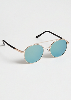 Gold Blue Lens Round Aviator Sunglasses