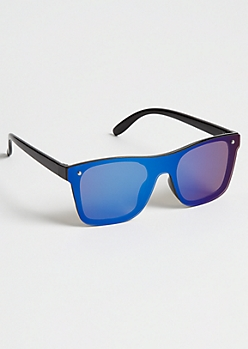 Blue Full Coverage Retro Sunglasses