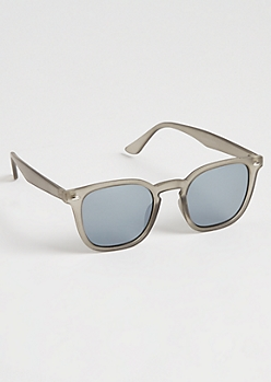 Gray Smokey Mirrored Keyhole Sunglasses