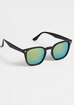 Black Round Retro Mirror Sunglasses