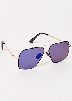 Blue Mirrored Navigator Sunglasses