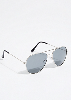 Metal Smoky Lens Aviator Sunglasses
