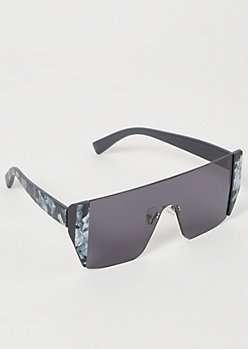 Black Marbled Shield Sunglasses