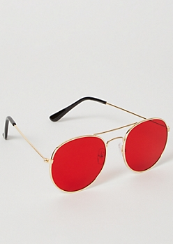 Red Rounded Brow Sunglasses