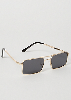 Black Skinny Rectangle Sunglasses