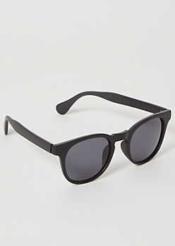 Black Matte Wooden Round Sunglasses