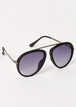 Black Matte Bridgeless Aviator Sunglasses