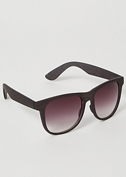 Black Matte Wooden Square Sunglasses