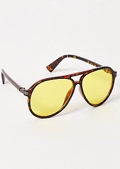 Tortoiseshell Yellow Aviator Sunglasses
