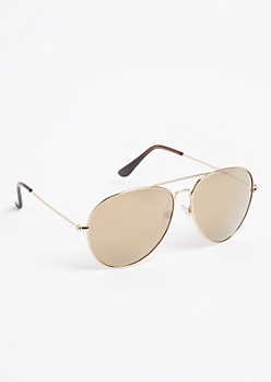 Gold Frame Brow Bar Mirrored Aviator Sunglasses