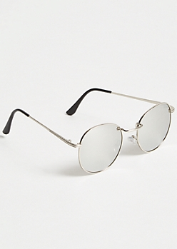 Mirrored Round Silver Sunglasses