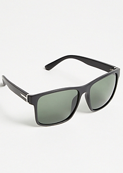 Matte Black Square Sport Sunglasses