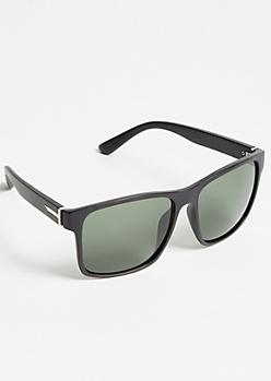Matte Black Square Sport Sunglasses