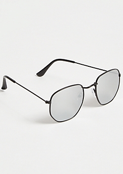 Geometric Silver Mirrored Sunglasses