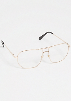 Gold Square Clear Lens Aviator Readers