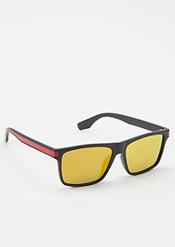 Black Colorblock Mirrored Square Sunglasses