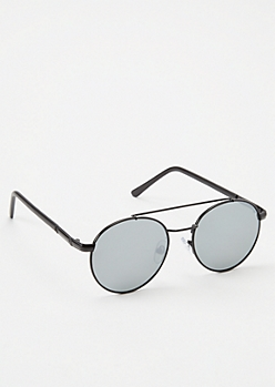 Black Mirrored Round Sunglasses