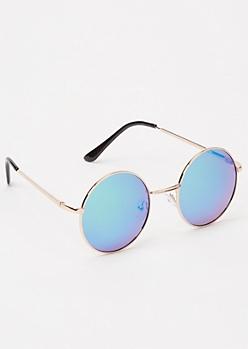 Blue Reflective Circle Sunglasses