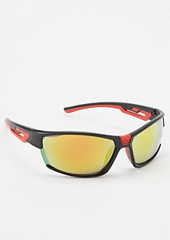 Black Colorblock Mirrored Shield Sunglasses