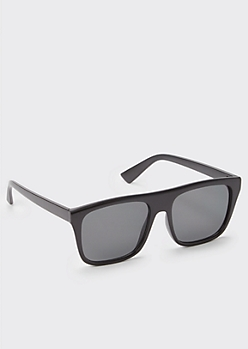 Black Matte Smoky Lens Flat Top Sunglasses