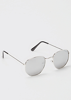 Silver Rounded Square Aviator Sunglasses