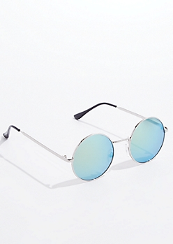 Green Mirrored Round Sunglasses