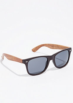 Smoky Faux Wood Grain Sunglasses