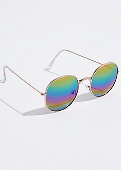 Gold Metallic Rainbow Round Sunglasses