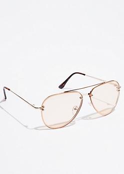 Metallic Gold Tortoiseshell Aviator Sunglasses