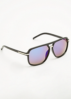Blue Lens Inlay Aviator Sunglasses