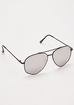 Black Mirrored Aviator Sunglasses