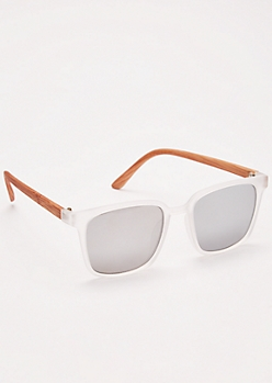 Clear Frame Wood Square Sunglasses