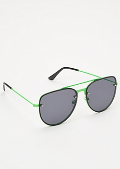 Neon Green Aviator Sunglasses