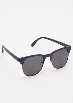 Navy Matte Browline Sunglasses